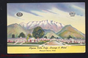 PLEASANT GROVE UTAH ALPINE VILLA CAFÉ MOTEL LINEN VINTAGE ADVERTISING POSTCARD