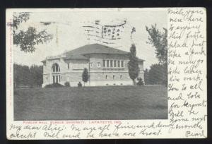 LAFAYETTE INDIANA PURDUE UNIVERSITY BOILERMAKERS FOWLER HALL OLD POSTCARD