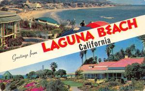 Laguna Beach California~Banner Greetings~Main Beach~Victor Hugo Inn~1965 PC