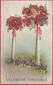 VALENTINE'S DAY; Greetings, Cupid in Red Rose Bush, Violet Flowers, 00-10s