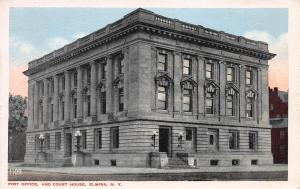 Post Office and Court House, Elmira, New York, Early Postcard, Unused