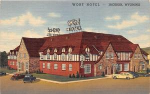 C41/ Jackson Wyoming Wy Postcard Linen Wort Hotel Building Autos