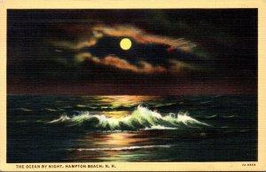 New Hampshire Hampton Beach The Ocean At Night 1943 Curteich