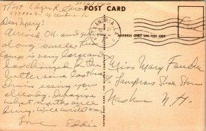 Vtg 1940s Carte Postale Camp Claiborne La Principal Entrée Avec Signe & Voitures
