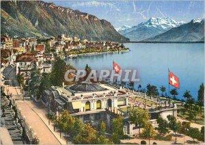 Modern Postcard Montreux Sports Pavilion and Dents du Midi