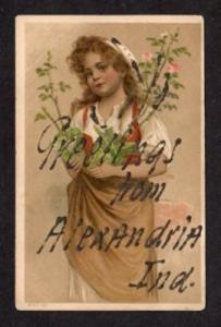 IN Vintage Greetings ALEXANDRIA INDIANA Postcard Roses