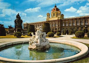 Vienna Museum of Arts and Museum of Natural History Fountain Statue Postcard