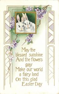 Easter~White Bunnies Cuddle~Gold Frame~Pink Noses~Lavender~Emboss~Whitney Made