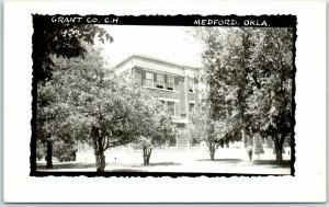 Medford, Oklahoma RPPC Real Photo Postcard GRANT COUNTY COURT HOUSE c1950s