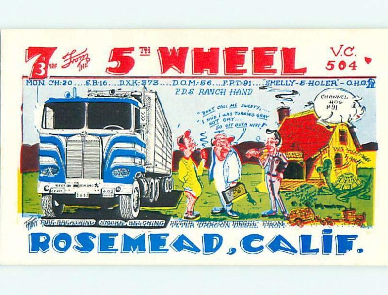 truck TRUCKING TEAMSTERS - QSL HAM RADIO CARD Rosemead