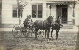 Pennock MN Horse Drawn Carriage 1910 Real Photo Postcard