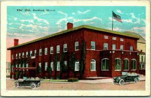 1926 Rockford, Illinois Postcard ELKS' CLUB Street View B.P.O.E. Lodge Hall
