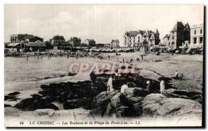 Old Postcard Croisic The rocks and the beach of Port Lin