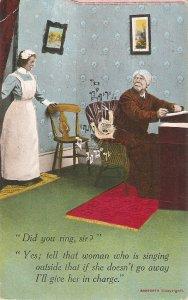 Comic scene. Do you ring, sir? Yes, tell. .. Bamforth humorous PC Serie # 1707