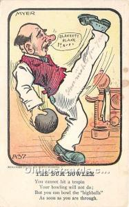 Old Vintage Bowling Postcard Post Card The Bum Bowler 1907