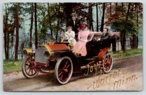 Joyriding in Warren Minnesota~Ladies Drive~Couples in Vintage Car~c1910
