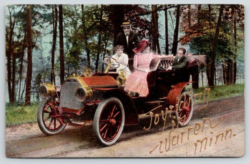 Joyriding in Warren Minnesota~Ladies Drive~Couples in Vintage Car~c1910