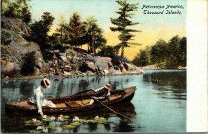 THOUSAND ISLANDS NY – Canoe Boat America - vintage postcard