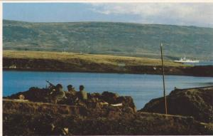 Falkland Islands; 1982 ;  San Carlos , British Gunners react as enemy fighter...