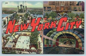 Postcard NY Large Letter Greetings From New York City Multiview Vintage P4