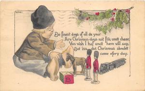 Christmas Post Card Old Vintage Antique Xmas Postcard 1917