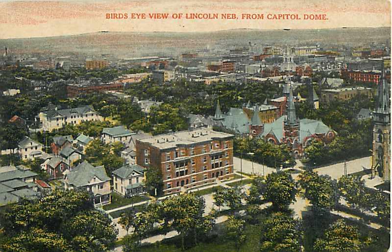 D/B Bird's Eye view of Lincoln Nebraska from Capitol Dome NE