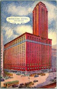 Chicago, Illinois Postcard MORRISON HOTEL Artist's Street Scene / 1935 Cancel