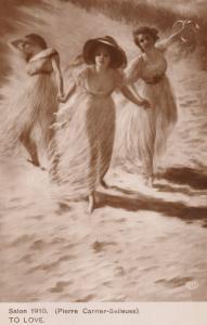 Salon 1910 To Love Pierre Carrier Belleuse RPC Glamour Risque Postcard
