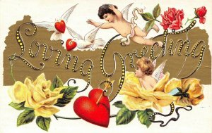 Valentine~Cupids in Large Letter Loving Greetings~Doves in Flight~Hearts~Emboss
