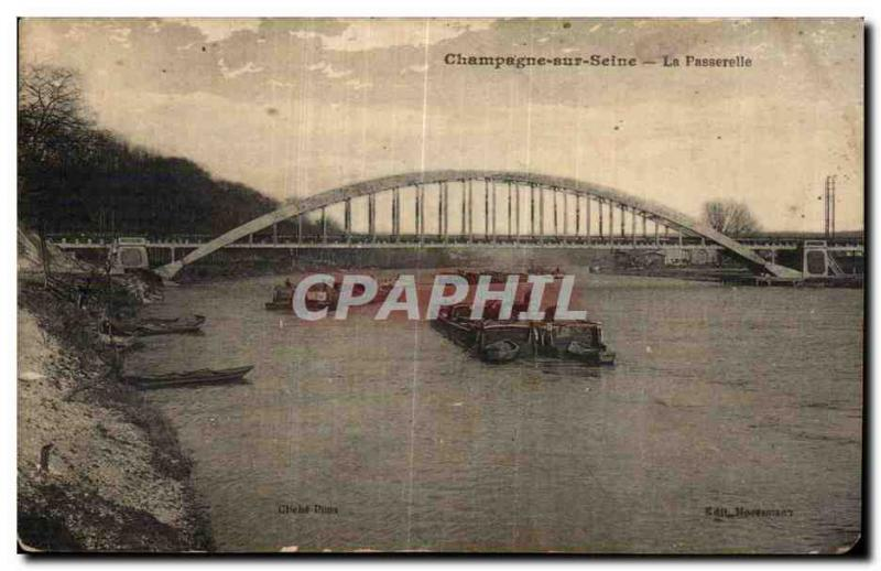 Champagne on the Seine - the Footbridge - CPA