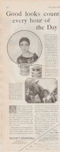 Daggett & Ramsdell Perfect Cold Cream 1927 Ad, Lady in Circle, Lady w/Horse
