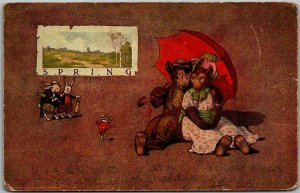 1913 Artist-Signed ST. JOHN Postcard SPRING Bear Couple / Umbrella S.S. PORTER