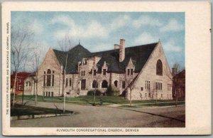 c1900s Denver, Colorado Postcard PLYMOUTH CONGREGATIONAL CHURCH Street View