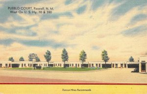 PUEBLO COURT Roswell, New Mexico Hwy 70 & 380 Roadside Linen Postcard ca 1940s