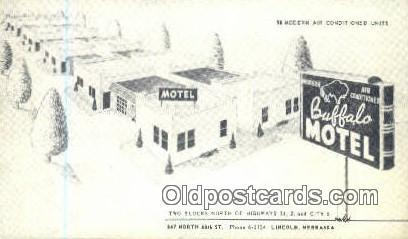 Buffalo Motel, Lincoln, NE, USA Motel Hotel Postcard Post Card Old Vintage An...