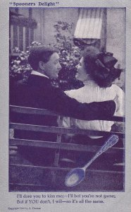 Spooners Delight, Woman proposing a kiss, Rhyme, 1900-10s