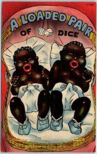 1940s Black Americana Postcard Black Babies Loaded Pair of Dice Curteich C-739