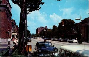 Hendersonville North Carolina~Main Street~Police Car Behind Station Wagon~1950s