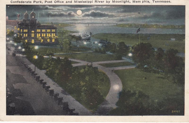 MEMPHIS, TN, 1929; Confederate Park, Post Office & Mississippi River, Moonlight