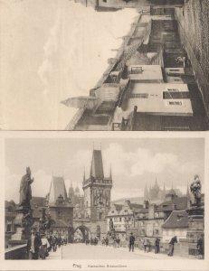 Czech Republic Prague Praha Goldenes Gasschen 2x Old Postcard