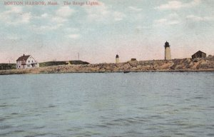 BOSTON, Massachussetts, PU-1909; The Range Lights