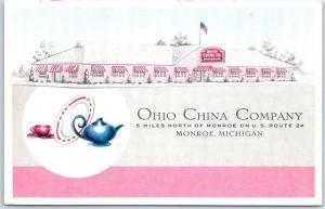 Monroe, Michigan Postcard OHIO CHINA COMPANY Store Route 24 Roadside c1950s