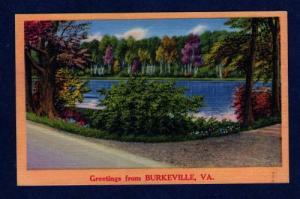 VA Greetings From BURKEVILLE VIRGINIA POSTCARD Linen