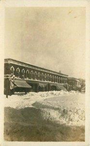 C-1910 Lake Mills Wisconsin Street View Winter Snow Cook Photo Postcard 20-3788