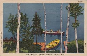 Pennsylvania Greetings From White Mills 1955 Curteich