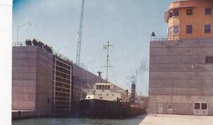Freighter leaving the Dwight D. Eisenhower Lock, Ontario,  Canada,  40-60s