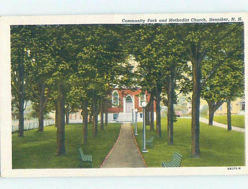 Unused Linen CHURCH SCENE Henniker New Hampshire NH A8306