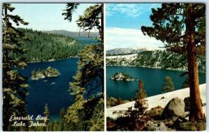LAKE TAHOE, California  CA    EMERALD BAY Views  Summer/Winter  1968  Postcard