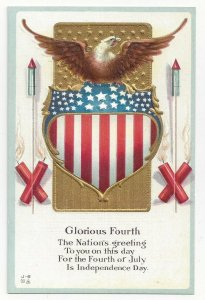 FOURTH OF JULY, 1900-10s; Eagle, American Flag, Fireworks