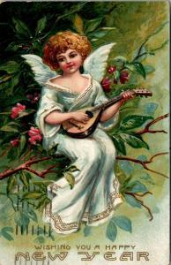 New Year~Miniatrue Angel Plays Mandolin on Flowering Tree Branch~Embossed~1907